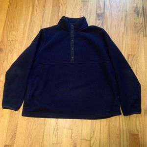 LL Bean Size Large Navy Blue Snap Womens Sweater